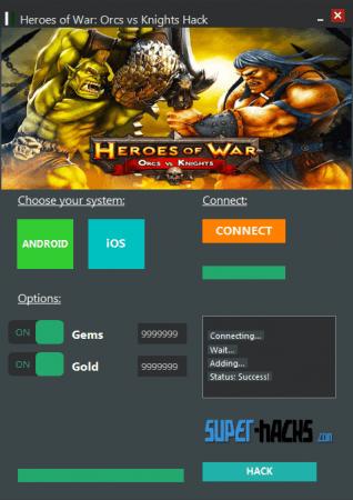 ВЗЛОМ Heroes of War: Orcs vs Knights. ЧИТ на кристаллы и золото.