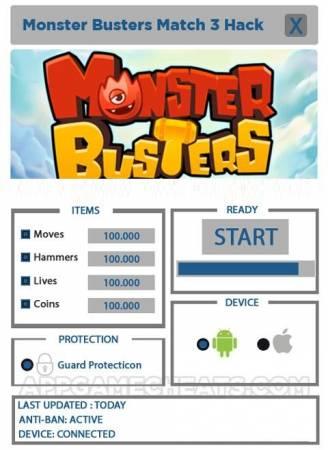 ВЗЛОМ Monster Busters Match 3. ЧИТ на ходы, жизни, монетки.